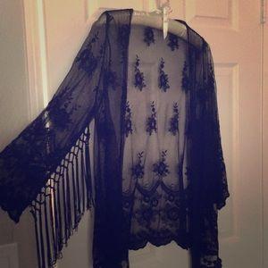 Other - Lace black fringe kimono